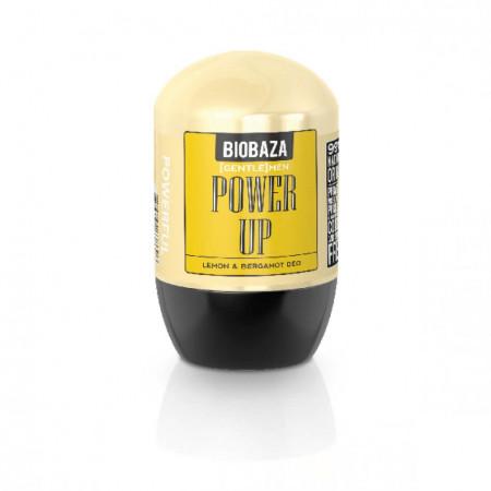 Deodorant natural pe baza de piatra de alaun pentru barbati POWER UP (lamaie si bergamota), Biobaza, 50 ml