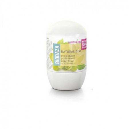 Deodorant natural pe baza de piatra de alaun piele sensibila DIVINE BEAUTY (salvie si struguri), Biobaza, 50 ml