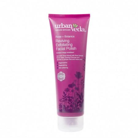 Exfoliant revitalizant pentru curatare faciala cu ulei de trandafir de Damasc - ten matur, Reviving - Urban Veda, 125 ml