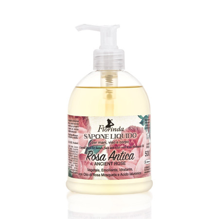 Sapun lichid vegetal hidratant cu Rosa Antica si ulei de Jojoba, Florinda, 500 ml La Dispensa