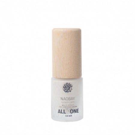 Crema contur de ochi BIO revitalizanta cu acid hialuronic pentru barbati, All In One, Naobay, 15 ml