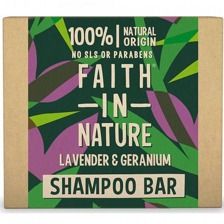 Sampon natural solid, cu lavanda si muscata, pentru toate tipurile de par, Faith in Nature, 85 gr