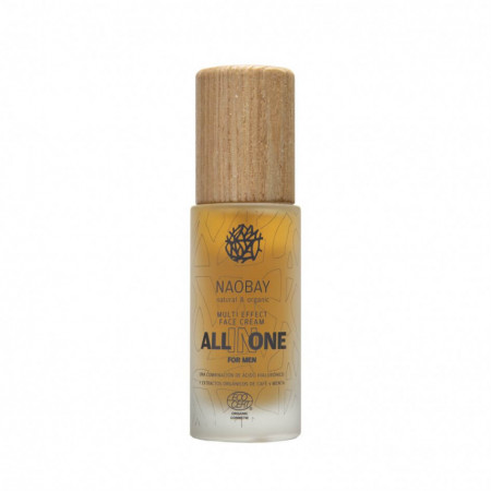 Crema de fata pentru barbati BIO hidratanta si antioxidanta cu acid hialuronic, All In One, Naobay, 50 ml