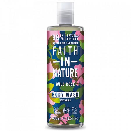 Gel de dus natural, hidratant, cu trandafir salbatic, Faith in Nature, 400 ml