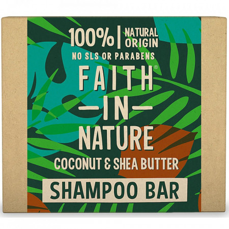 Sampon natural solid, nutritiv, cu cocos si unt de shea, pentru par uscat, Faith in Nature, 85 gr