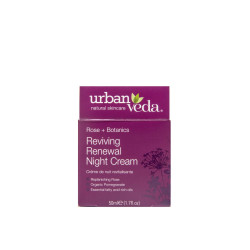 Crema regeneranta de noapte cu ulei organic de trandafir de Damasc - ten matur, Reviving - Urban Veda, 50 ml