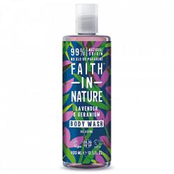 Gel de dus natural, relaxant, cu lavanda si muscata, Faith in Nature, 400ml