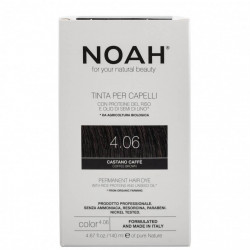 Vopsea de par naturala, Saten cafeniu,4.06, Noah, 140 ml