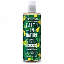 Sampon natural revigorant cu lamaie si tea tree, pentru toate tipurile de par, Faith in Nature, 400 ml