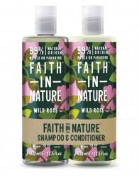Set Sampon & Balsam cu Trandafir Salbatic, pt toate tipurile de par, Faith in Nature, 2 x 400 ml