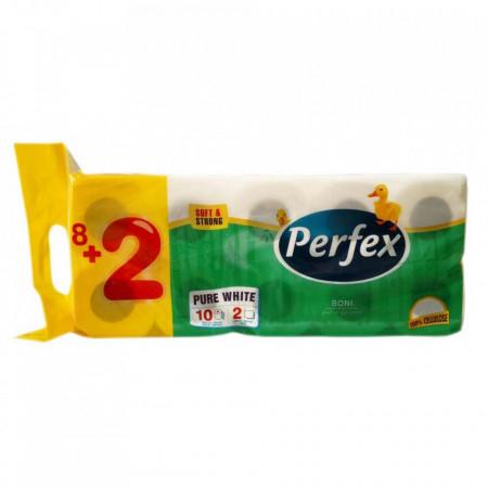 Pachet hartie igienica Perfex 2 straturi Boni Alb 8+2 buc