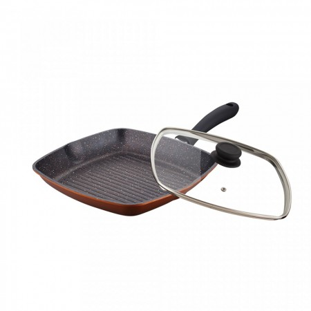 Tigaie patrata tip grill din aluminiu cu invelis antiaderent de granit + capac,  28 cm, Inductie