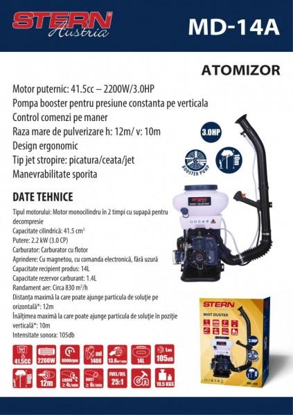 Atomizor Stern Md14A, 3 Cp, Motor 2 Timpi, Pompa Booster, 14 L