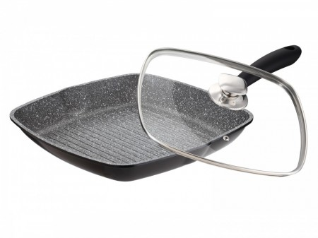 Tigaie grill patrata cu int granit+capac, 28 cm, Inductie