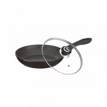 Tigaie din aluminiu cu invelis de granit non-aderent si capac de sticla termorezistenta, 26 cm, Inductie