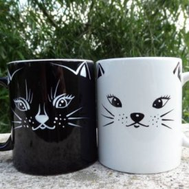 Set cani pictate pisica alba pisica neagra
