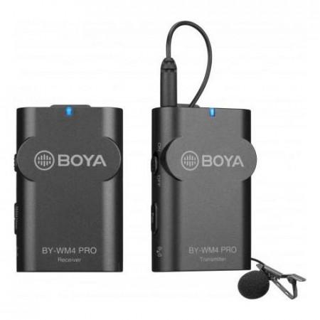 Boya BY-WM4 Pro Linie Wireless 2.4Ghz cu Microfon Lavaliera (TX+RX) DSLR & Smartphone