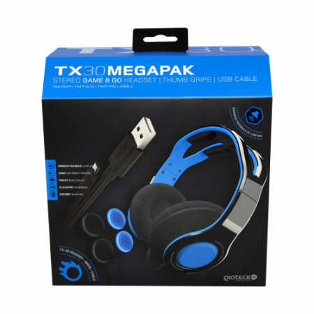 Gioteck - TX30 Megapack - Stereo Game & Go Headset + Thumbs Grips + USB Cable for PS4 MULT PS4