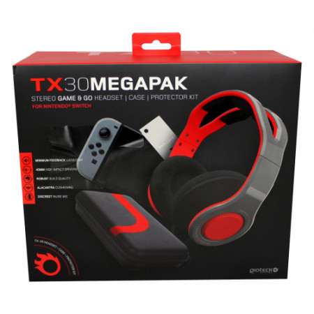 Gioteck - TX30 Megapack - Stereo Game & Go Headset + Case + Protector Kit for Nintendo Switch MULT Nintendo Switch