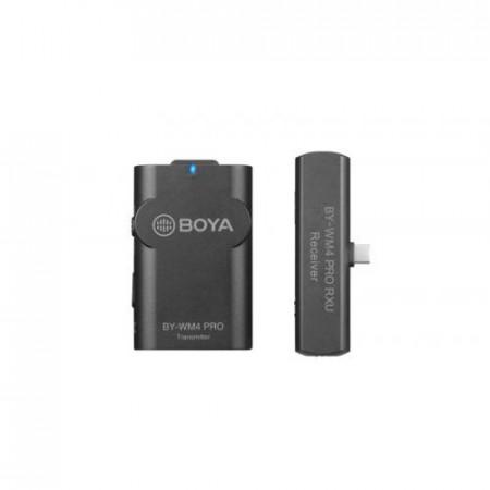 Boya BY-WM4 Pro-K5 Linie Wireless 2.4Ghz cu Microfon Lavaliera (TX+RX) Type-C pentru Android & DSLR