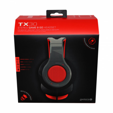 Gioteck - TX30 Stereo Game & Go Headset Red Grill for PS5, PS4, Xbox Series, Xbox One, Switch & Mobile MULT Multi-Platform