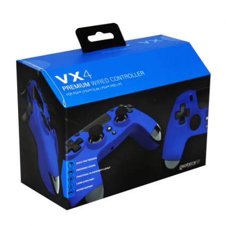 Gioteck - VX4 Premium Wired Controller with mini-jack port VX4 Blue for PS4 & PC MULT Multi-Platform