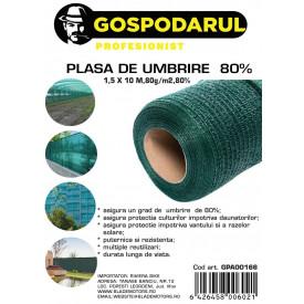 Plasa de umbrire , 1,5X10 M,80g/m2,80%