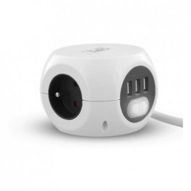 TNB 2 in 1 multi-socket adapter with 3 x 16A earthing contacts and 3 USB 2.4A ports - White