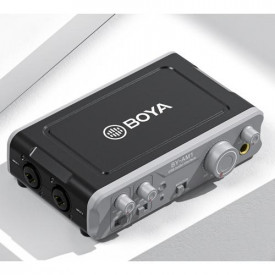 Boya BY-AM1 Dou? cu canal USB audio mixer: iesiri Jack TRS 6,3 mm (2 x), intrari Balanced XLR/Jack 6.3 mm TRS Combo (2 x)