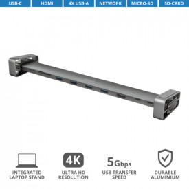 TRUST Dalyx Aluminium 10-in-1 USB-C Multi-port Dock