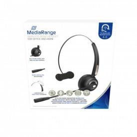 MediaRange Wireless mono headset with microphone, 180mAh battery, black