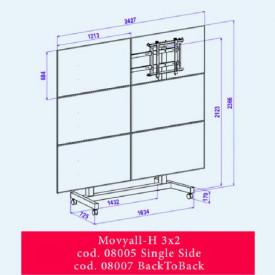 OMB MOVYALL - stand mobil pentru VIDEOWALL, 3x2 single, landscape