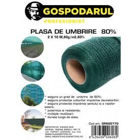 Plasa de umbrire ,2X10 M,80g/m2,80%