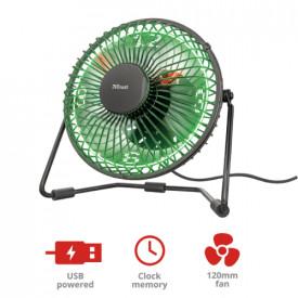 TRUST Victu USB Powered Desk Fan w/LED clock displays