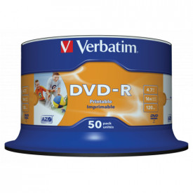 Verbatim DVD-R 16X 4.7GB SPINDLE 50 NON-ID PRINTABLE