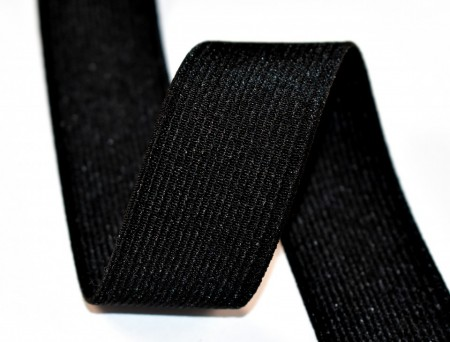 Elastic Moise 25 mm negru - 25 m rola
