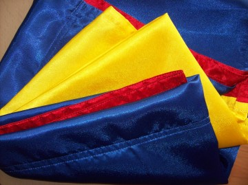 Steag tricolor Romania 100 cm / 150 cm - crep satin.