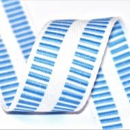 Banda botez Denisa 35 mm - alb cu bleu