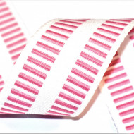 Banda botez Denisa 35 mm - alb cu roz
