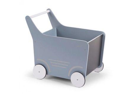 Slika Drvena kolica za igračke/guralica, mint