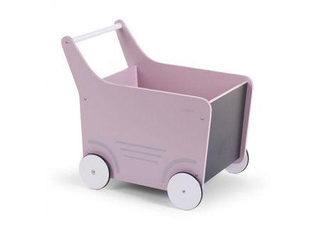 Slika Drvena kolica za igračke/guralica, soft pink