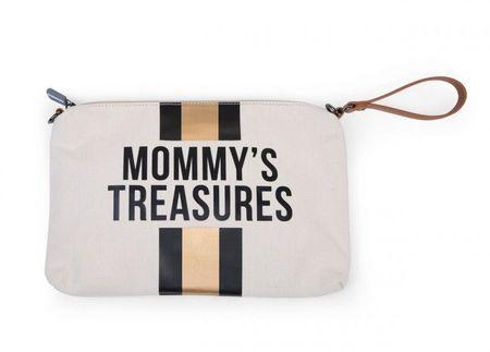 Slika MOMMY'S TREASURES CLUTCH - OFF WHITE STRIPES BLACK/GOLD