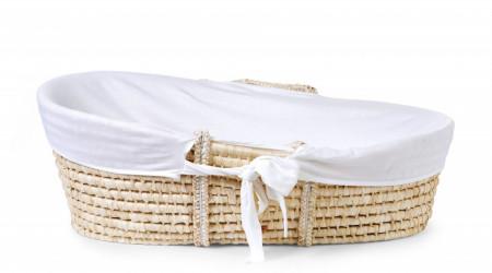 Moses korpa sa ručkama+dušek sa nepromočivom navlakom+prekrivač/navlaka za korpu, bela