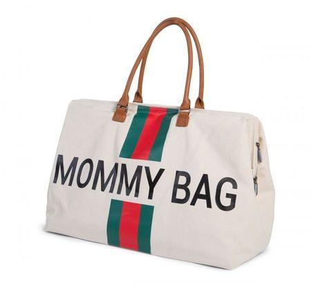 Slika MOMMY BAG, OFF WHITE STRIPES GREEN/RED
