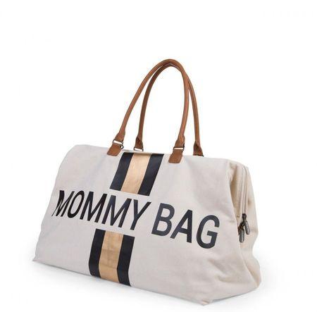 Slika MOMMY BAG, OFF WHITE STRIPES BLACK/GOLD