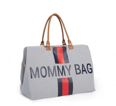 Slika MOMMY BAG, GREY STRIPES RED/BLUE