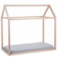 Krevet u obliku kućice sa belom tendom, 70x140 cm, natur