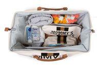 MOMMY BAG, OFF WHITE STRIPES BLACK/GOLD