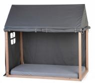 Krevet u obliku kućice sa antracit tendom, 70x140 cm, natur