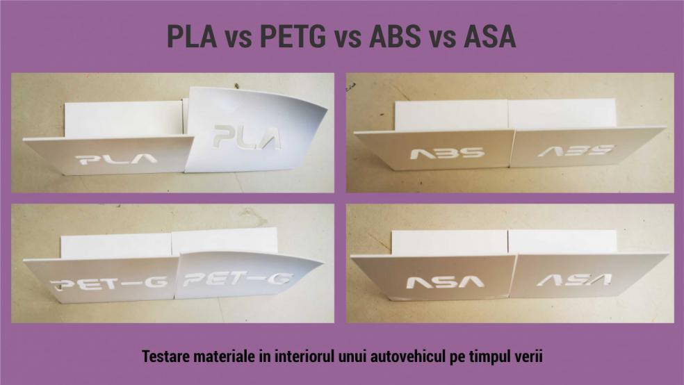PLA vs PETG vs ABS vs ASA. Ce material pot utiliza in autovehicul, in soare?